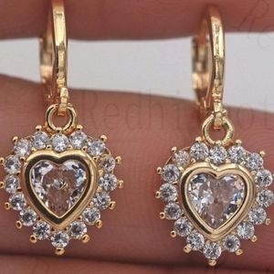 18kt GF Flower heart CZ earrings